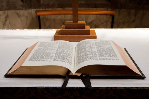 Bible on altar